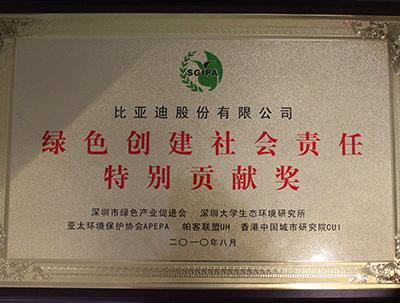 绿色创建社会责任特别贡献奖